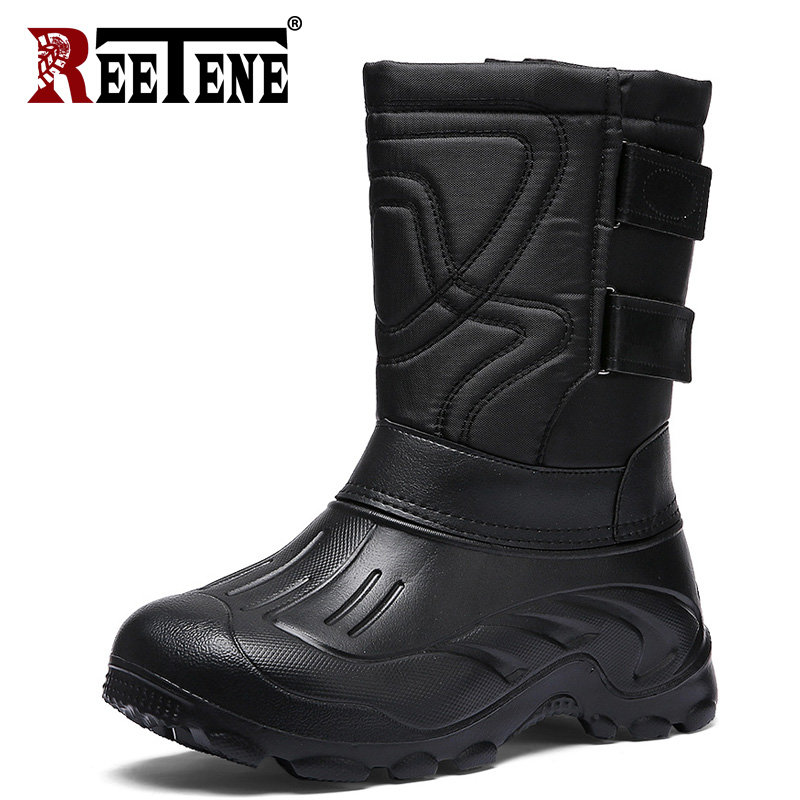 REETENE New Hot Sales Men'S Snow Boots Waterproof High-Cutting Men'S Shoes Winter Mens Casual Boots Keeping-Warm Fur Men'S Boots image