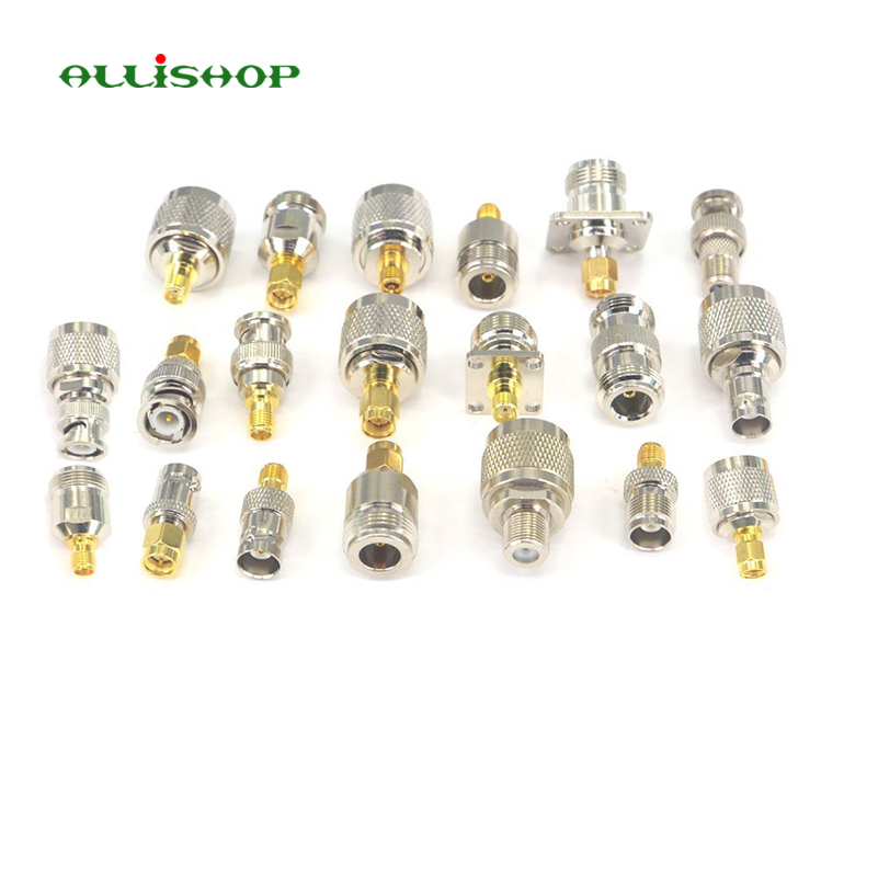ALLiSHOP 20 kit RP SMA Adapter connector SMA to N SMA to BNC SMA to TNC RF Coaxial connectors male female M/F conector 1pc sma male to sma female right angle 90 degrees rf coaxial connector adapter