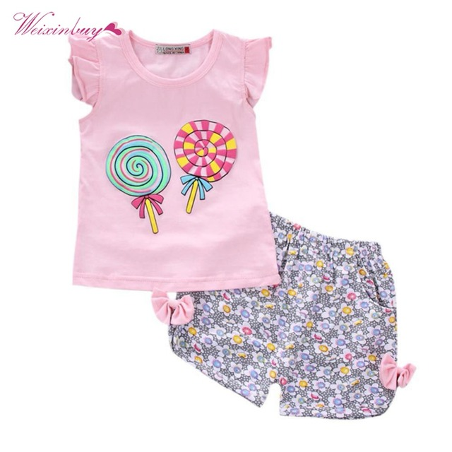 e5158ead62f6 WEIXINBUY Baby Girls Clothes Set Summer 2Pcs Children Toddler Outfits Lolly  T-shirt Tops+Children Floral Print Shorts Pants Girl