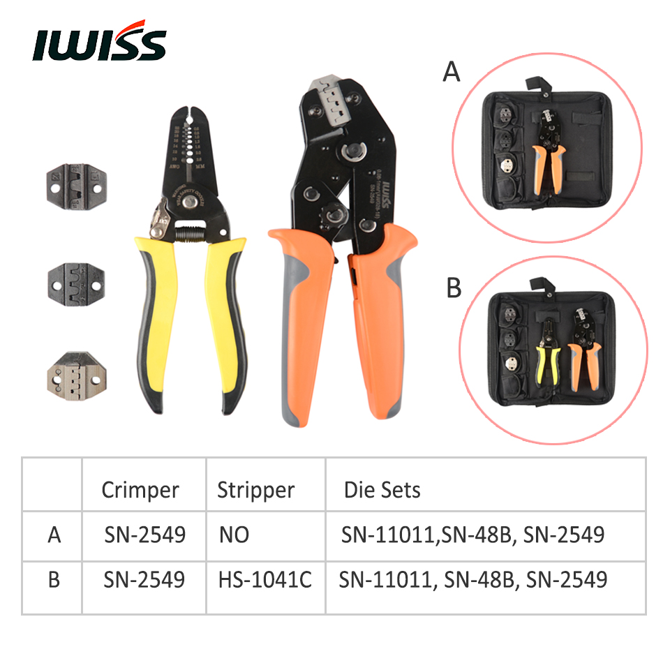 IWISS SN 2549 Crimp Tool Kit include SN 2549 Crimping Plier HS 1041C Wire Stripper and