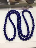 Natural Genuine Blue Lapis Lazuli Gem Stone Round Bead Women Charm Necklace 7.6mm