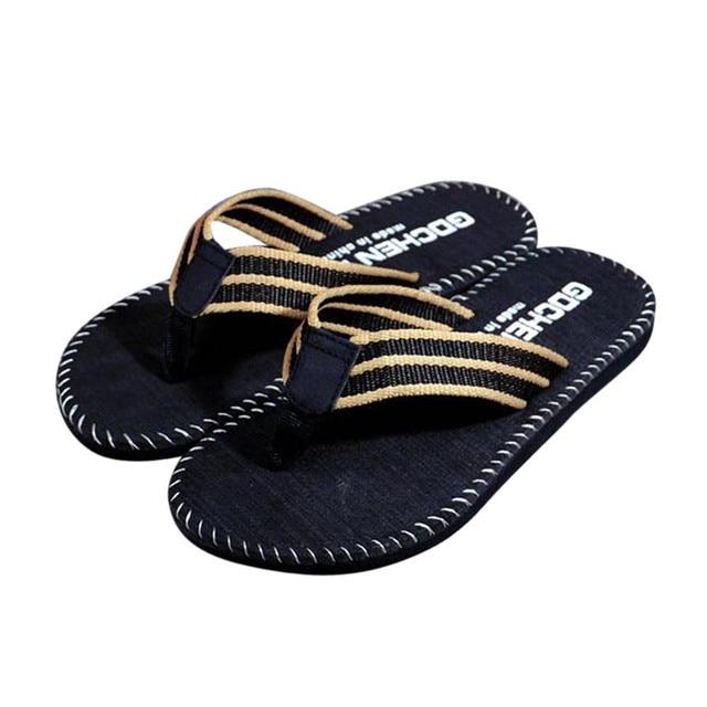 ea5b8404aaf4e Casual Slippers Men Summer Fashion New Stripe Flip Flops Shoes Sandals Male  Slipper Flip-flops Indoor Outdoor Comfortable Shoes