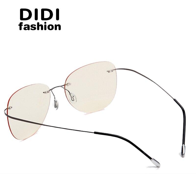 DIDI Biegsamen Titan Legierung Anti Blau Gläser Männer Frauen Randlose Rahmen Dünne Brillen Optische Computer Brille UV400 Culos H686