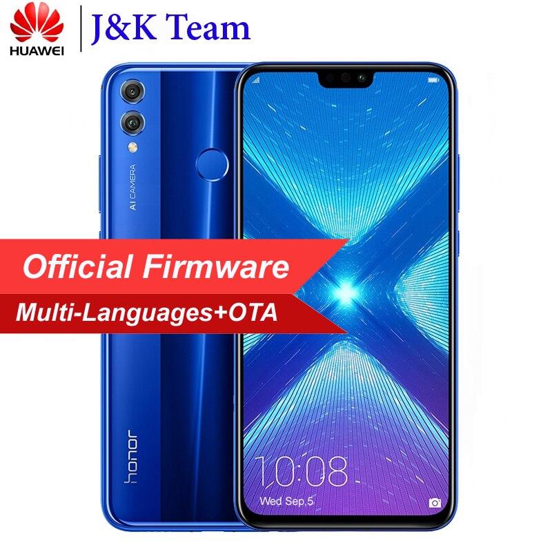 Huawei Honor 8X6 ГБ 64 ГБ Dual SIM мобильного телефона 6,5 дюймов 3750 мАч Батарея двойной назад 20MP Камера несколько Язык смартфон