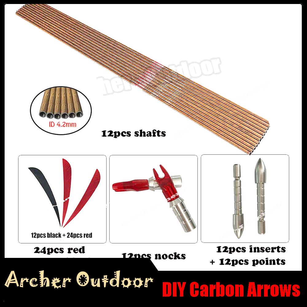 DIY Linkboy Archery Wood Carbon Arrow Spine 600 700 800 ID 4 2mm 3 Turkey Feather