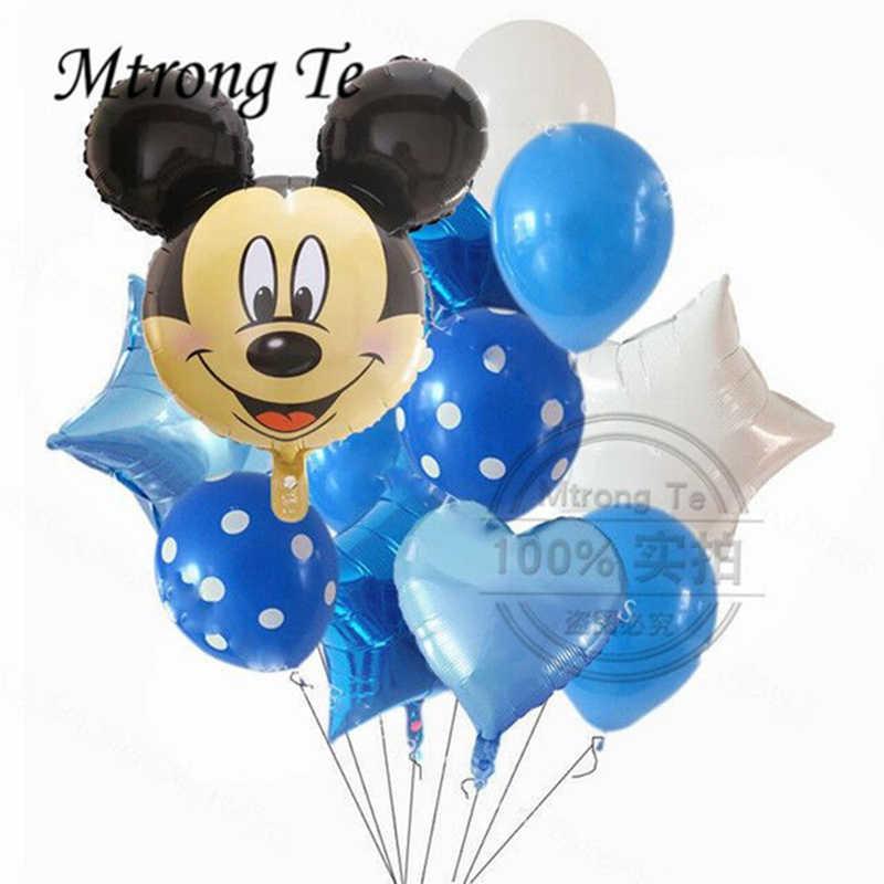 12 Pcs Mickey Minnie Mouse Bintang Helium Foil Balon Anak-anak Dekorasi Pesta Ulang Tahun Baby Shower 1st Ulang Tahun Balon LaTeX Mainan