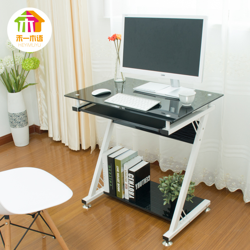 US $1434.0 |Wo a desktop home computer desk wooden language simple easy one  small books on the table glass computer table-in Computer Desks from ...