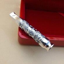 Pure Silver Xianglong บุหรี่ผู้ถือกรองเงิน 999 เครื่องประดับบุหรี่กระเป๋าแตะบุหรี่,ท่อ, ผู้ชาย
