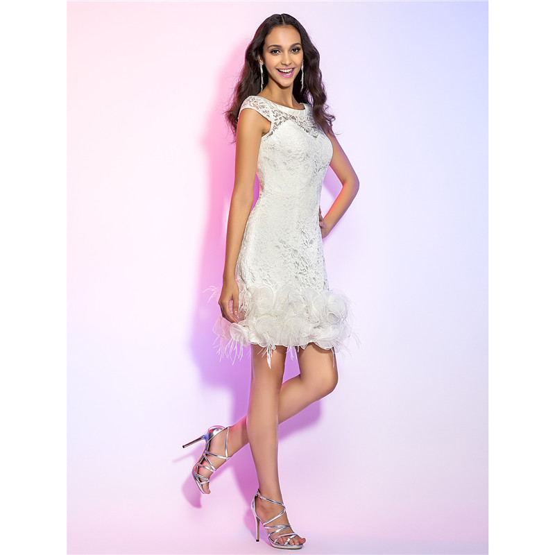 TS Couture Sheath / Column Illusion Neckline Short / Mini Lace Graduation Cocktail Party Homecoming Holiday Dress
