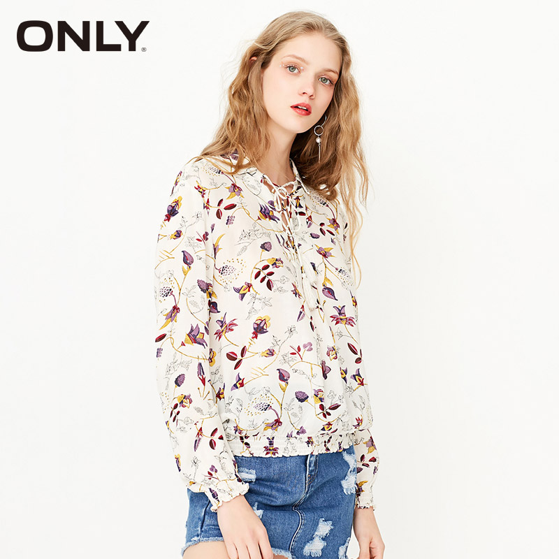 BESTSELLER Official Store ONLY Brand Women NEW HOT sexy  flower printed Casual Blouse lady slim shirts girl top 116151012