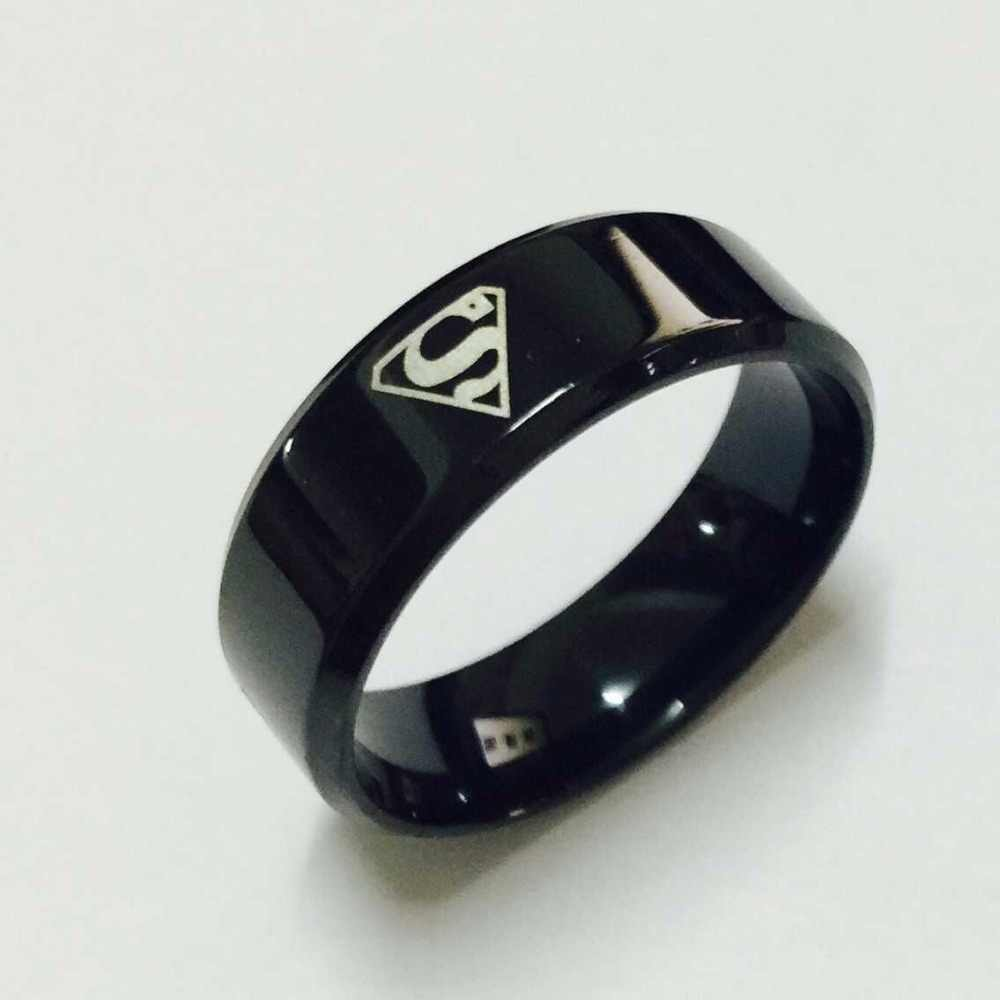 Cool boys girls 8mm Carbon steel black superman hero rings for men women high quality USA size 6-14