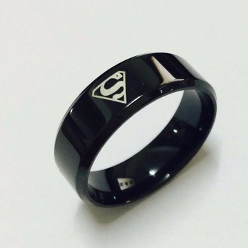 Cool boys girls 8mm Carbon steel black superman hero rings for men women high quality USA size 6-14 surveillance camera