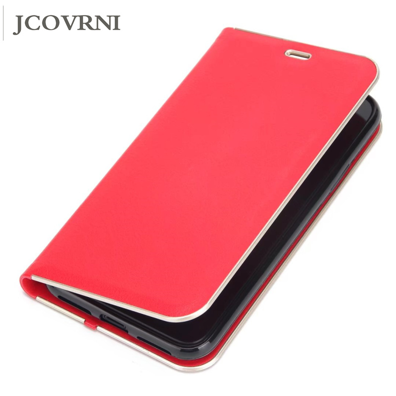 JCOVRNI Flip Business Case For iPhone 6 6s 7 8 Plus Cover Leather Wallet Cases For iPhone X Supe magnetism pull phone case bag
