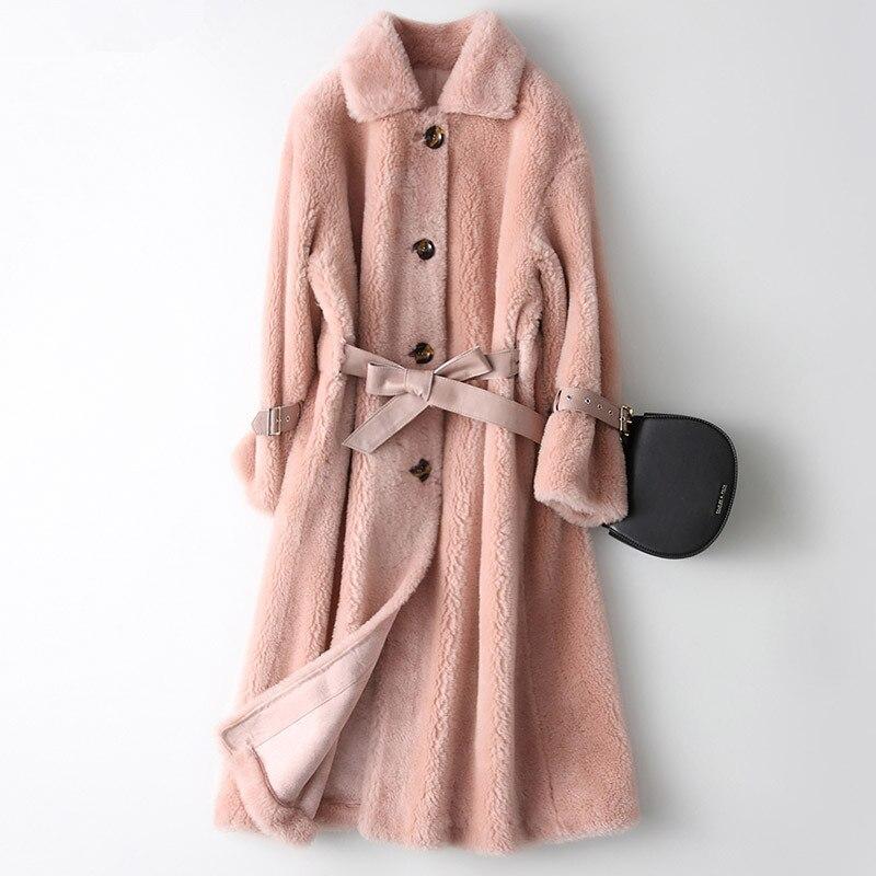 Réel Manteau De Fourrure Tonte des Moutons Fourrure Automne veste d'hiver femmes 100% Manteau de laine Femme Coréenne Rose Vestes Manteau Femme Hiver Y2026