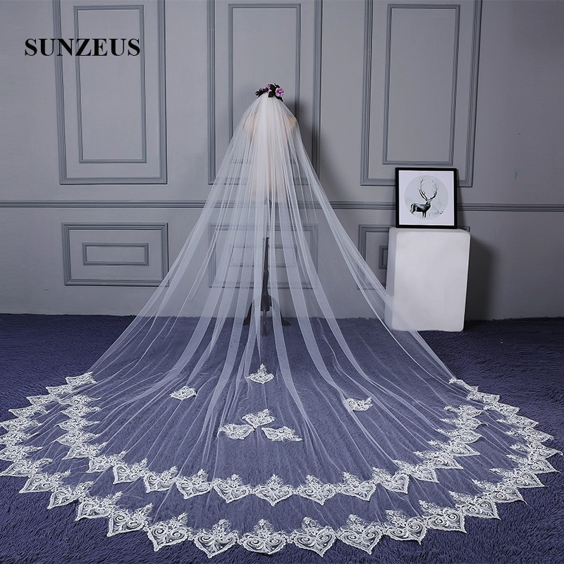 Approx 3 Meters Long Wedding Veils for Bridal Sweetheart Lace Appliques Edge Veil Wedding Accessories  SBV39