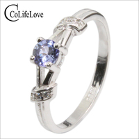 Elegant Tanzanite Wedding Ring For Girl 4mm Natural VS Grade Tanzanite Ring Solid 925 Sterling Silver