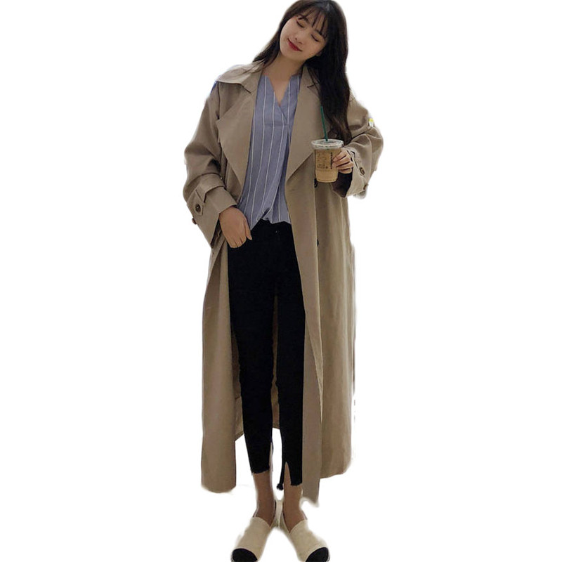 2019 Spring Autumn Korean Fashion Women Double Breasted Long   Trench   Coat Mujer Loose Belt Large Size Windbreaker Outerwear M152