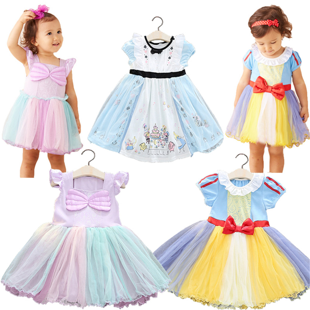 Kids Snow White Cosplay Girl Tutu Dress Queen Bow Princess Clothing Halloween Party Child Cartoon Costume Cute Vestidos Infantil christmas halloween princess dress cosplay snow white dress costume belle princess tutu dress kids clothes teenager party 10 12