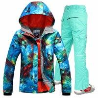 Oferta Conjunto de traje de esquí de nieve Gsou para mujer chaqueta de Snowboard y pantalones traje de esquí para mujer impermeable de invierno cálido para mujer chaquetas