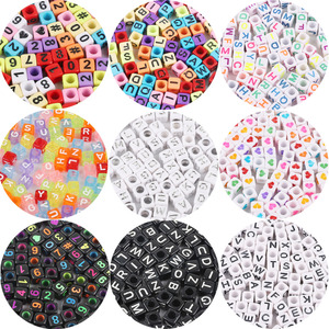 100pcs 6mm Mixed Square Acrylic Beads Russian Alphabet Letter Beads For Jewelry Making DIY Charms Bracelet Necklace