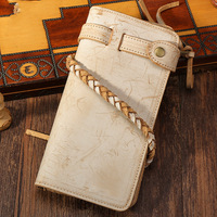 Tied 2017 New Fashion Environmental Protection Leisure Long Leather Wallet Hand First Layer Cowhide Retro Chinese