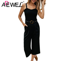 ADEWEL Sexy Backless Off Shoulder Long Jumpsuit Romper Women Sashes Playsuit Rompers Summer Solid Loose Casual Overalls 2019