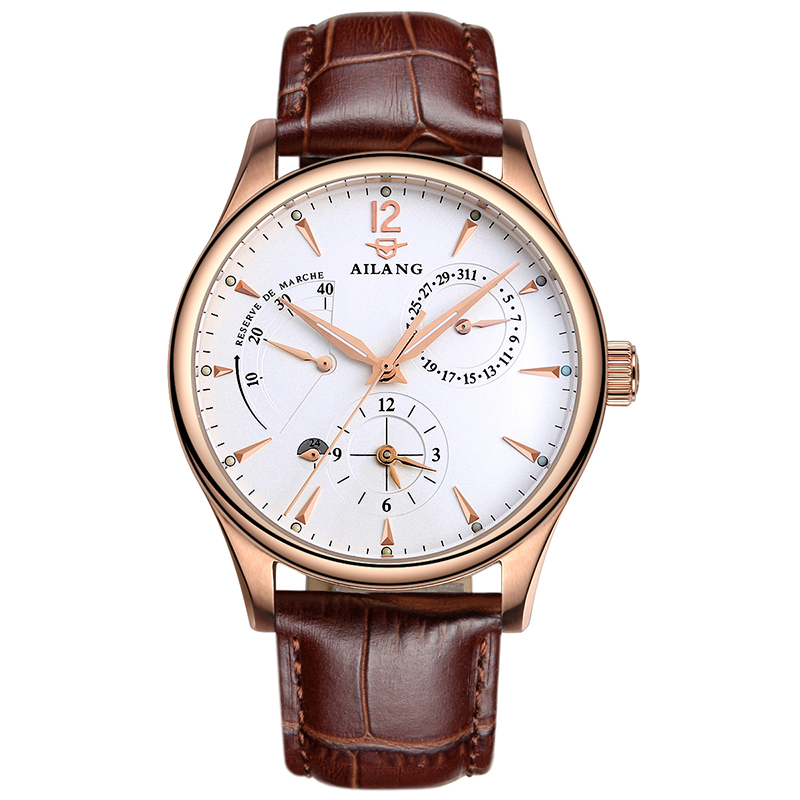 AILANG 5809 Switzerland watches men luxury brand automatic mechanical kinetic energy display six-pin watch leather business вентилятор maxwell mw 3509 w