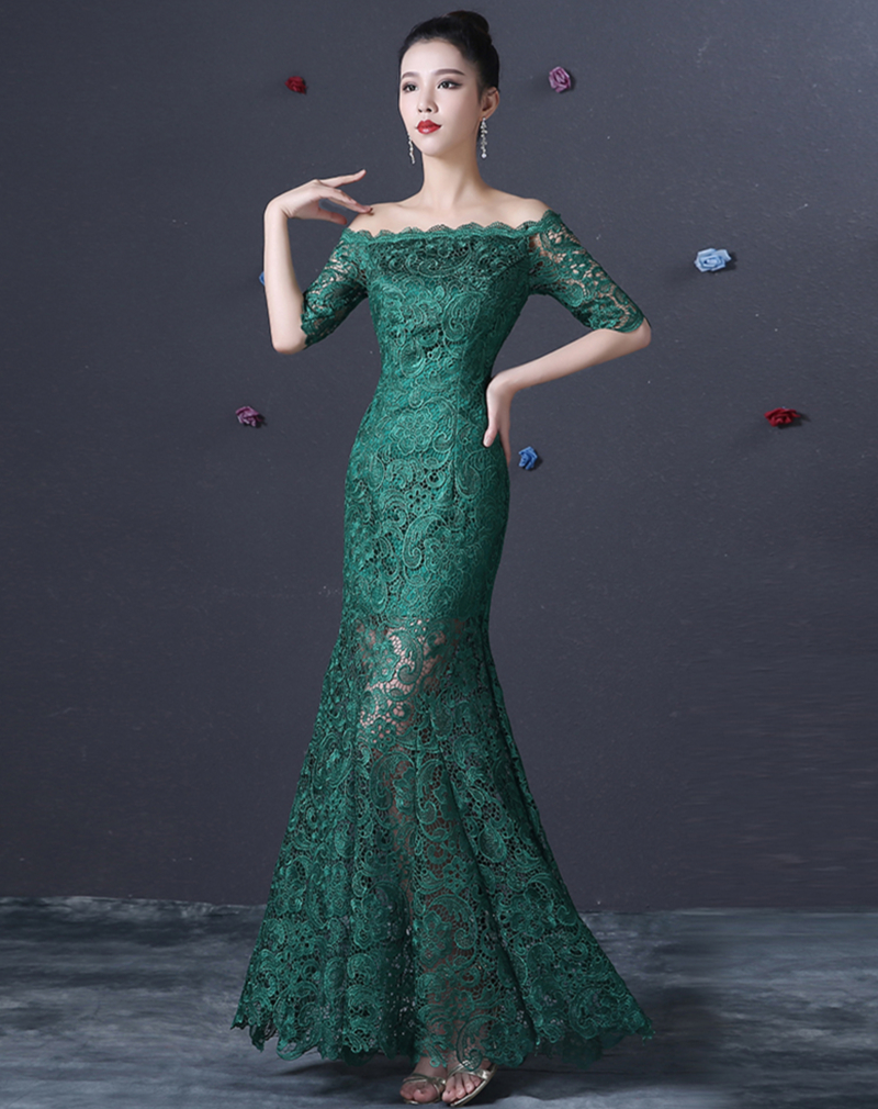 Half Sleeves Lace Mermaid Evening Dress 2017 Boat Neck Evening Gowns ...
