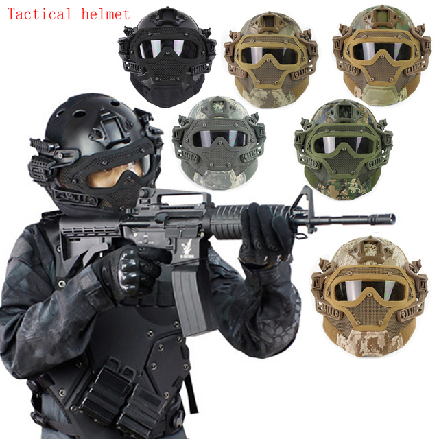 2019 New CSG4 System Set Tactical Airsoft Paintball PJ Helmet with Overall Protect Glass Face Mask Military Helmet Equipment