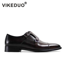 2019 Vikeduo Vintage Retro Flat Mens Monk Shoes Handmade 100% Genuine Cow Leather Dress Wedding Office Party Original Design