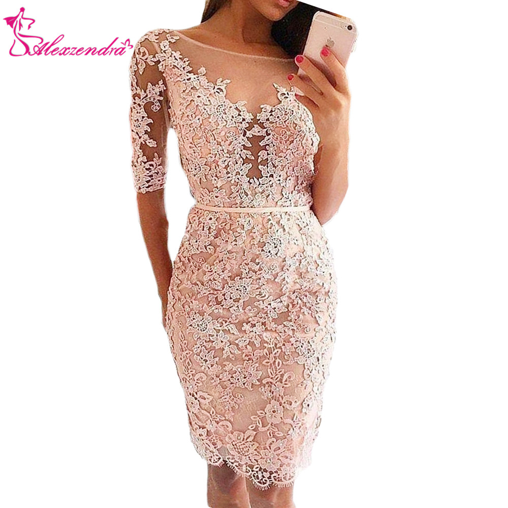 Alexzendra Lace Short Sleeves Knee Length Sexy   Prom     Dresses   2018 Evening   Dress   Party   Dresses   Customize