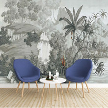 Custom Wall Cloth Vintage Hand Drawn Tropical Forest Wall paper For Walls 3 D Living Room Mural Wall Paper Home Furnishing Decor(China)