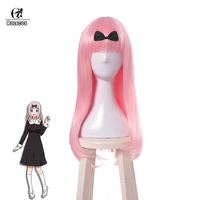 ROLECOS Kaguya sama: Love is War Cosplay Headwear Chika Fujiwara Cosplay Hair Long Straight Pink Hair 65cm Women Headwear Anime
