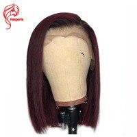 Hesperis 180 плотность Ombre Парик предварительно сорвал бразильский Реми Ombre Синтетические волосы на кружеве парик короткий Боб Cut парики 1b /красны