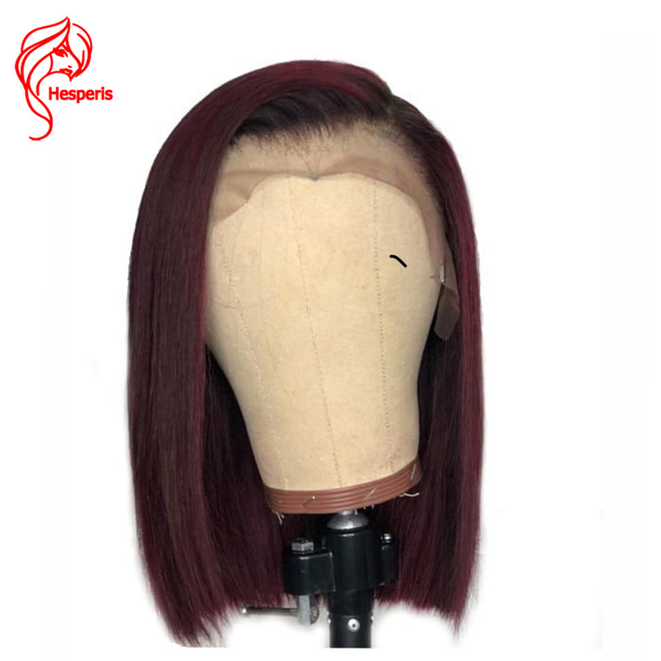 Hesperis 180 Density Ombre Human Hair Wig Pre-plucked Brazilian Remy Ombre Lace Front Wig Short Bob Cut Wigs 1b/red Wigs