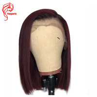 Hesperis 180 Density Ombre Human Hair Wig Pre plucked Brazilian Remy Ombre Lace Front Wig Short Bob Cut Wigs 1b/red Wigs