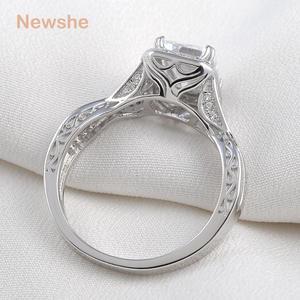Image 3 - Newshe 925 prata esterlina anéis de casamento 2.52 quilates aaa zircônia cúbica anel de noivado para mulher tamanho 9