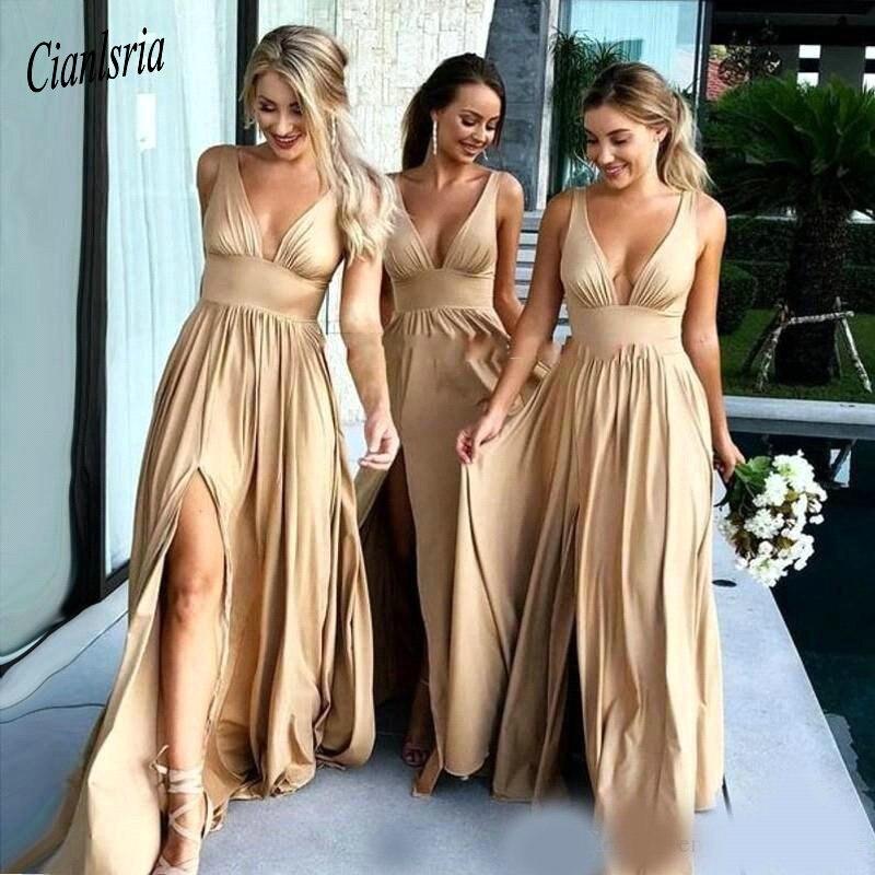 2019 Sexy Long Gold Bridesmaid Dresses Deep V Neck Empire Elastic Silk Like Satin Side Split Summer Beach Boho Bridesmaid Gowns