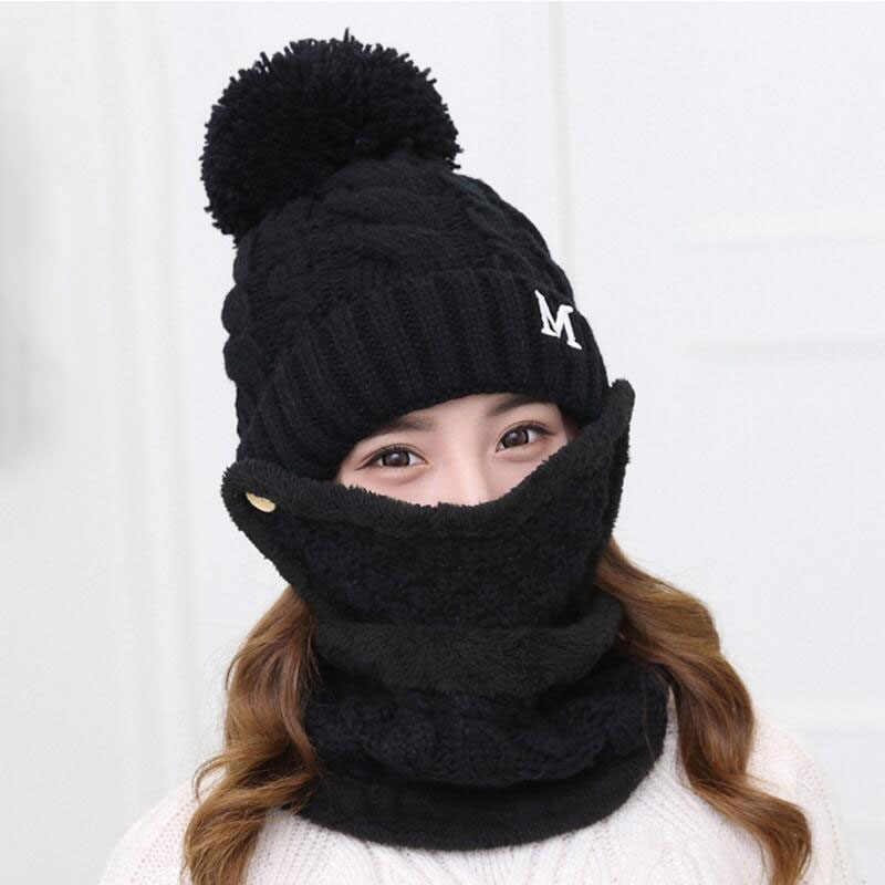 58531fbc38c60 New Winter Women s Full Face Mask Hat Caps Scarf Set Knitted Warm Thick  Windproof Balaclava Multi