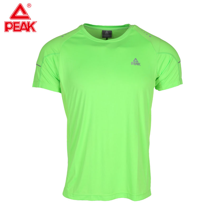 PEAK Mens Short Sleeve T Shirt for Running Outdoor Sport Gym Training Quick Dry Shirts