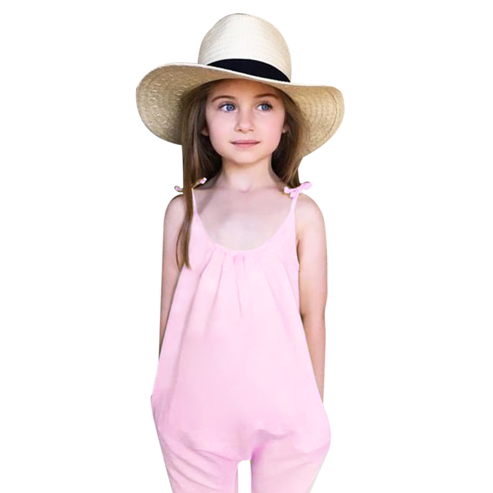 Fashion Summer Baby Girls Overall Clothes Loose Romper Outfits Tiny Trousers Cotton Overalls For Chidren Pink