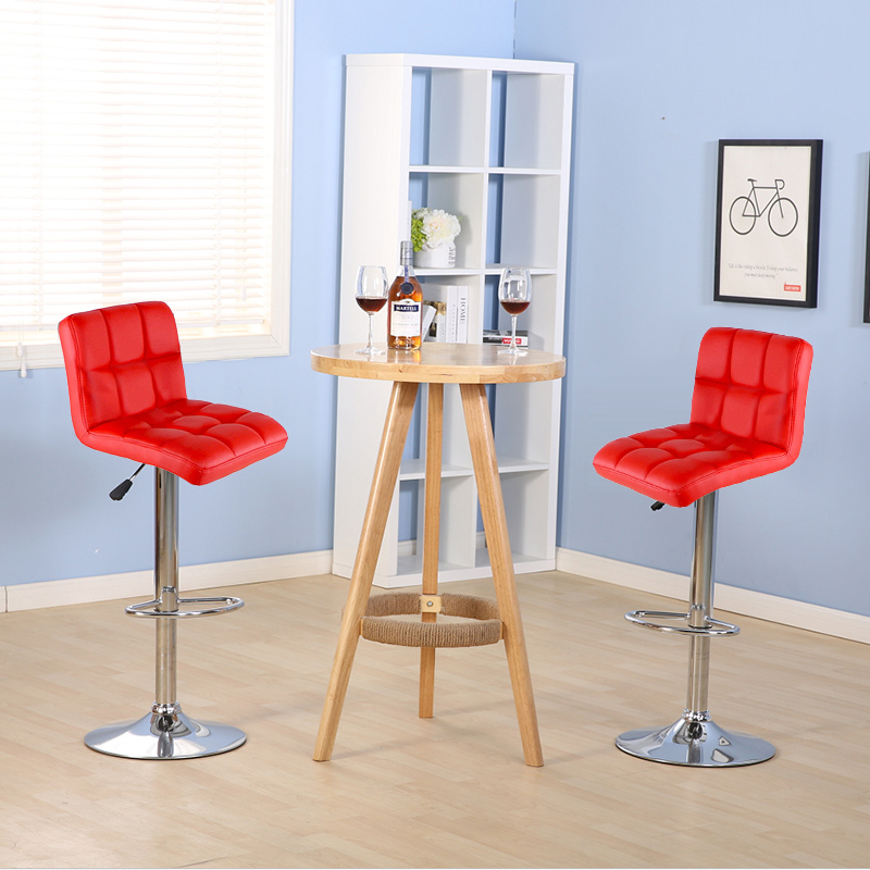 Miraculous 2Pcs Bar Stools Swivel Red Leather Height Adjustable Pub Bar Caraccident5 Cool Chair Designs And Ideas Caraccident5Info