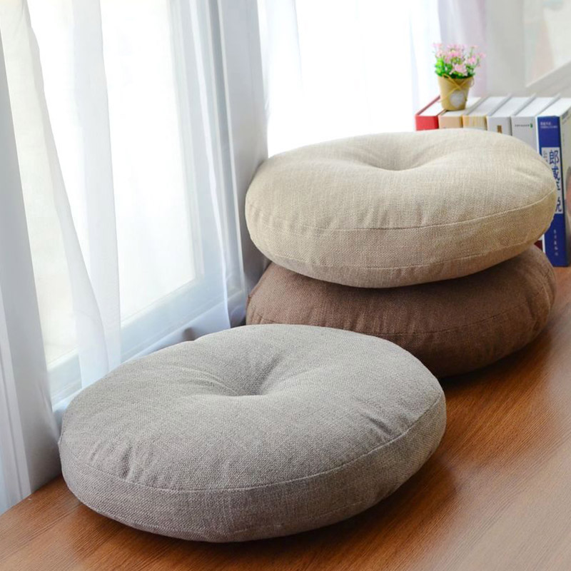 Soft Canvas Round Chair Cushion Seat Pad for Patio Home Car Office Floor <font><b>Pillow</b></font> with Insert Filling Memory Foam Futon Cushions
