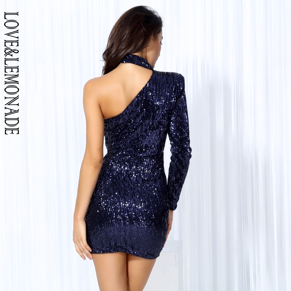 e116150f1c US $30.09 14% OFF|Love&Lemonade Dark Blue Cut Out Shoulder Elastic Sequin  Party Dress Navy/Pink/Black/silver LM0190-in Dresses from Women's Clothing  ...
