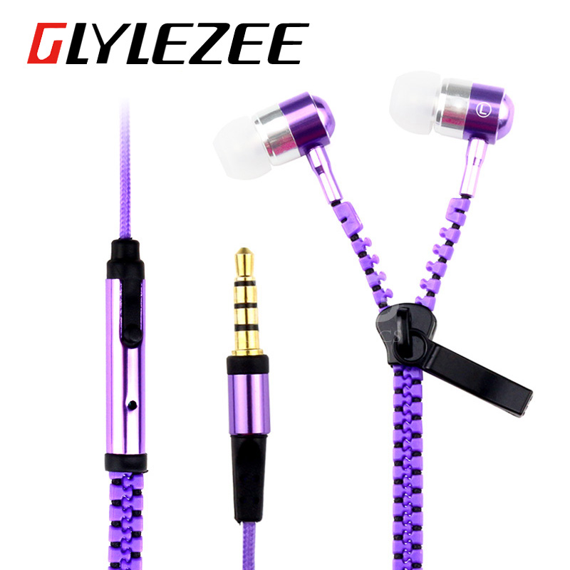 купить Glylezee S3 Zipper Earphone in-Ear Metal Bass MP3 Music 3.5mm with Microphone Stereo Cellphone Earpieces for Smart Phone дешево