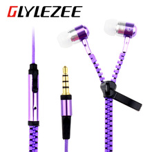 Glylezee S3 Zipper Earphone in-Ear Metal Bass MP3 Music 3.5mm with Microphone Stereo Cellphone Earpieces for Smart Phone