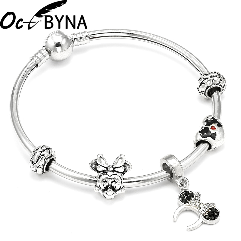 Octbyna Dropshipping Carton European Charm Bracelets with Mickey Beads Pandora Bracelet for Children Gift ...