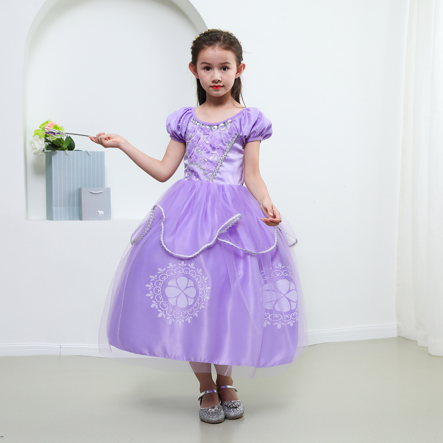 Kids Girls Princess Sofia Rapunzel Dresses Gown Long Party Dress Children Clothing Christmas Cosplay Costume Masquerade 3-12 Yr