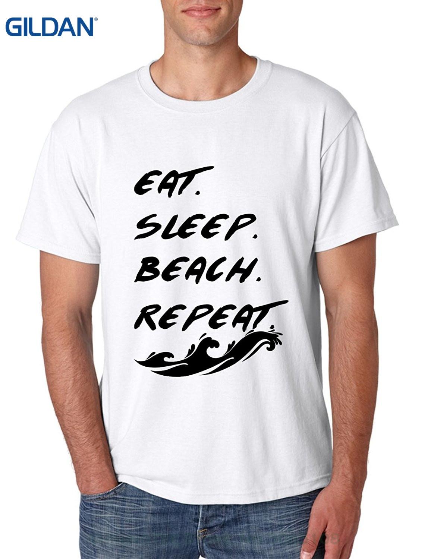 GILDAN Short Sleeve 100% Cotton Man Tee Tops Mens T Shirt Eat Sleep Beach Repeat Fun Cool T Shirt