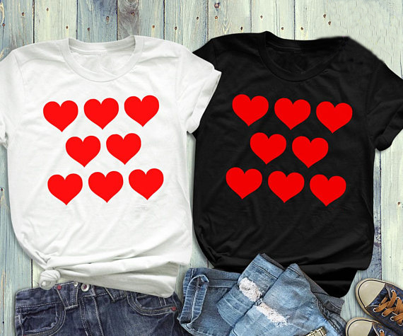Lover Heart T-Shirt Love Clothing Heart Tee Red Printed Harajuku Slogan Tops Valentines Day Shirt Unisex Couple Matching T Shirt